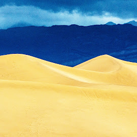 Blue and Gold by Richard Michael Lingo - Digital Art Places ( death valley, mountains, sky, sand dunes, california, digital art, places )