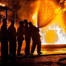 Spray by Arisha Singh - People Portraits of Men ( firefighter, fireman, firefighting, fire, ems )