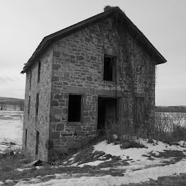 Stone House 2 by Kathy Kehl - Black & White Buildings & Architecture ( houses, stone, stone house, house, decaying, abandoned )
