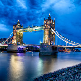 Tower Bridge by Abdul Rehman - City,  Street & Park  Historic Districts ( uk, sky, night photography, london, tower bridge, long exposure, nightscape )