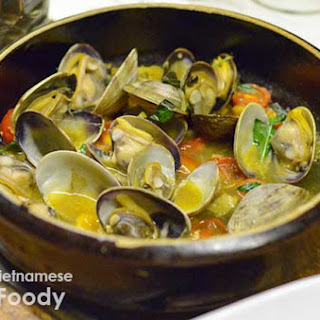 Clams with Crispy Pork Belly and Thai Basil