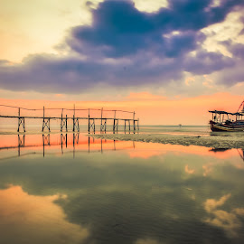 by Joy Advent - Landscapes Waterscapes ( reflection, waterscape, sunset, indonesia, rembang, transportation, boat, landscape, photography )