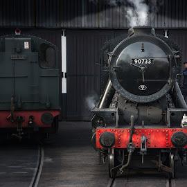90733 by Darrell Evans - Transportation Trains ( building, old, yard, engine, wheels, track, front, shed, railway, transport, d7100, train, driver, boiler, nikon, black, steam )
