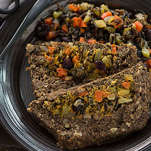 Sage Lentil Loaf with Wild Rice Cranberry Pumpkin Stuffing