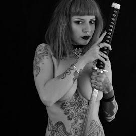 by Ian Standivan - Nudes & Boudoir Artistic Nude ( monochrome, nude, low key, tattoos, rebecca crow, sword )