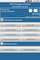 Screenshot of Postage Calculator USPS