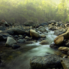 River by Amril Nuryan - Landscapes Forests ( water, exposure, flow, rocks, slow speed, river )