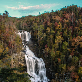 Fall upper white water falls nc by Jo Anne Keasler - Landscapes Waterscapes