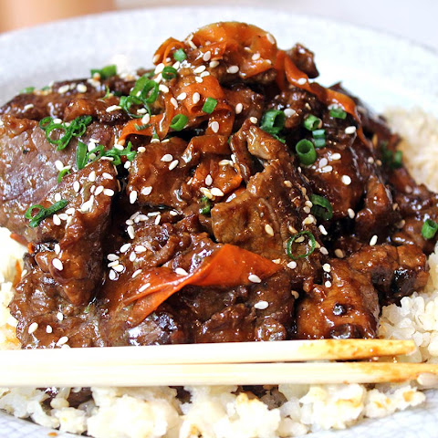 Spicy Tangerine Beef with Carrot Ribbons
