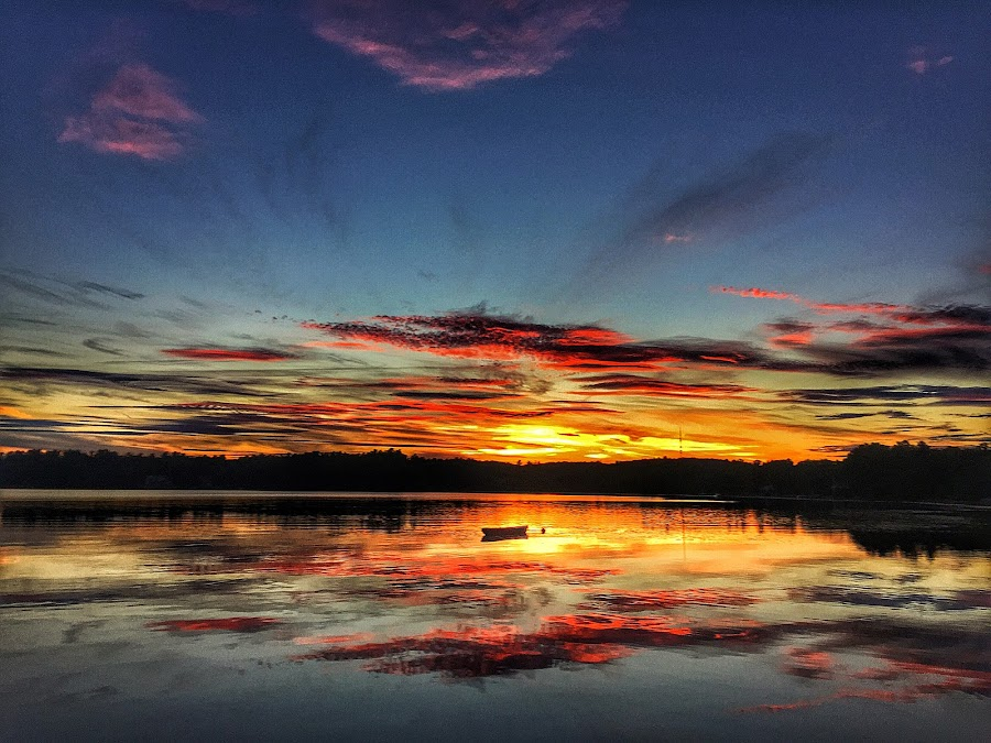 lake sunset by Rob King - Landscapes Sunsets & Sunrises ( clouds, reflection, color, sunset, lake, boat )