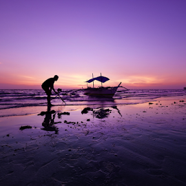 Bantayan Island by Ferdinand Ludo - Landscapes Beaches ( cool summer day, fine sand beach, photographer taking pix of boat, sunrise )
