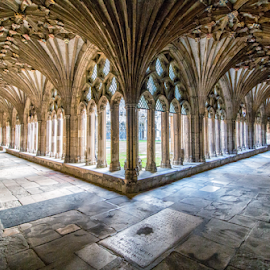 Canterbury cathedral (UK) by Gianluca Presto - Buildings & Architecture Places of Worship ( united kingdom, medieval, cloister, religion, architectural detail, perspective, arch, silence, quiet, canterbury, cathedral, arches, architecture )