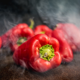 Grilling by Marius Radu - Food & Drink Fruits & Vegetables ( pepper, red, grilling, fire, hot, food )