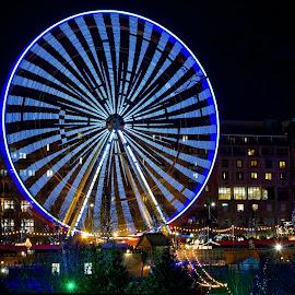 Big Wheel by Graham Hill - City,  Street & Park  Amusement Parks ( lights, princess street, market, edinburgh, big wheel, movement, christmas, long exposure, night, christmas market, ferris wheel,  )