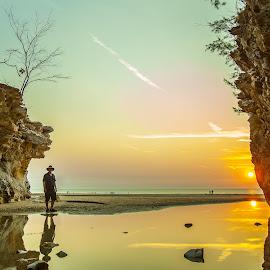 Dripstone Sunset by David Millard - Landscapes Beaches ( colour, water, reflection, cliffs, sunset, beach, darwin, dripstone )