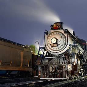 Southern 630 at Night by Greg Booher - Transportation Trains ( southern 630, steam engine, greg booher, locomotive, railroad, rail, train, long exposure, night, virginia, bristol, steam )