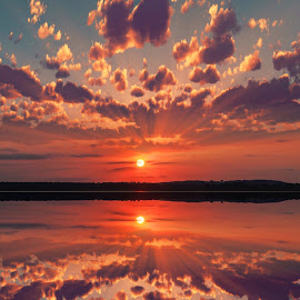 Arkansas sunsets are hard to beat  by Josue  Enriquez  - Landscapes Sunsets & Sunrises ( sunset arkansas river reflection )
