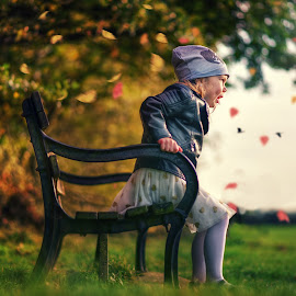 Bench by Piotr Owczarzak - Babies & Children Children Candids ( girl, park, autumn, children, kids )