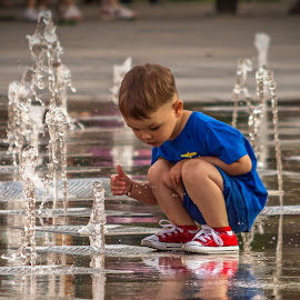 A day in the park 1 by Ovidiu Sova - Babies & Children Children Candids ( child, water fountain, curious, red shoes, colorful )