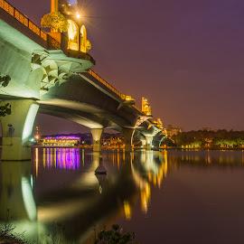Bridge by Varok Saurfang - Buildings & Architecture Bridges & Suspended Structures ( putrajaya, infrastucture, lake, night, bridge )