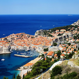 City of Dubrovnik by Robert Hlobilek - Landscapes Travel ( port, sky, dubrovnik, croatia, sea, town, coast, city )