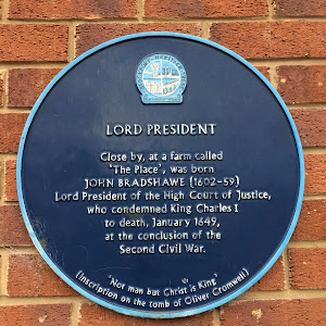 This plaque, on the wall of a petrol station in Marple, marks the location of the birthplace of John Bradshawe (or Bradshaw), who was most notable for his role as President of the High Court of ...