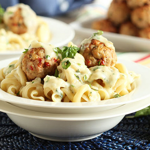 Ricotta Turkey Meatballs with Sun-Dried Tomatoes and Garlic Asiago Cream Sauce