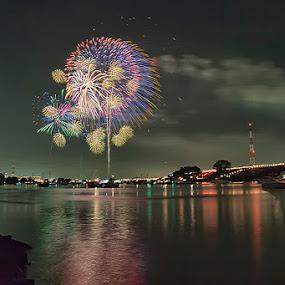 Itabashi Firework I by Nyoman Sundra - Public Holidays Other ( firework, itabashi, tokyo, landscape, river, nightscape )