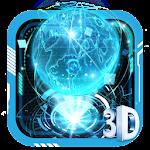3D Blue Neon Earth Theme Icon