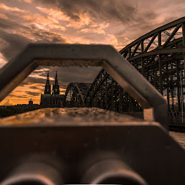 Cologne Bridge by Varok Saurfang - Buildings & Architecture Bridges & Suspended Structures ( clouds, cologne, sky, sunset, bridge )