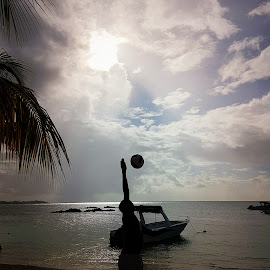 Beach volleyball  by Hayley Moortele - Sports & Fitness Other Sports ( #fitness, #silhouette, #beaches, #sports, #ball, #sea, #sunset, #volleyball )
