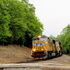 Fast Freight by Rick Covert - Transportation Trains ( railroad, rural, locomotive, arkansas, yellow, trains )