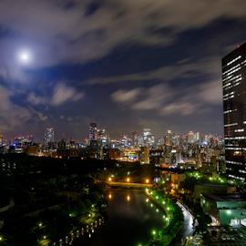 City of Osaka by Ferdinand Ludo - City,  Street & Park  Night ( japan, new otani hotel, at my hotel window, osaka, city at night, street at night, park at night, nightlife, night life, nighttime in the city )