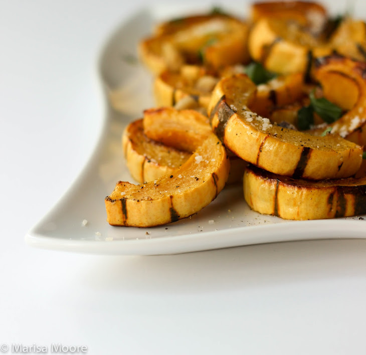 Roasted Delicata Squash with Parmesan & Walnuts Recipe | Yummly