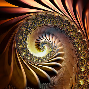 Bronze Coil by Amanda Moore - Illustration Abstract & Patterns ( spirals, digital art, fractal art, spiral, fractal, digital, fractals )