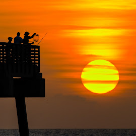 Fishermen at Dawn by Carl Albro - Buildings & Architecture Bridges & Suspended Structures ( water, silhouette, sunrise, sun )