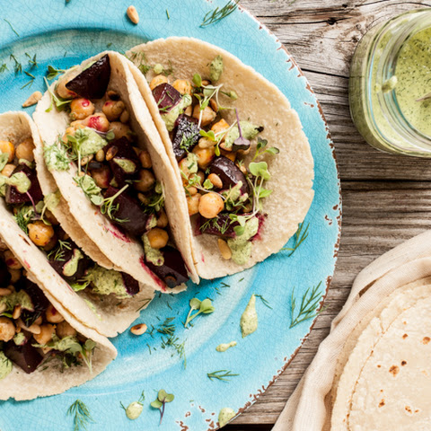 Roasted Beet & Chickpea Tacos with Herb Tahini Sauce