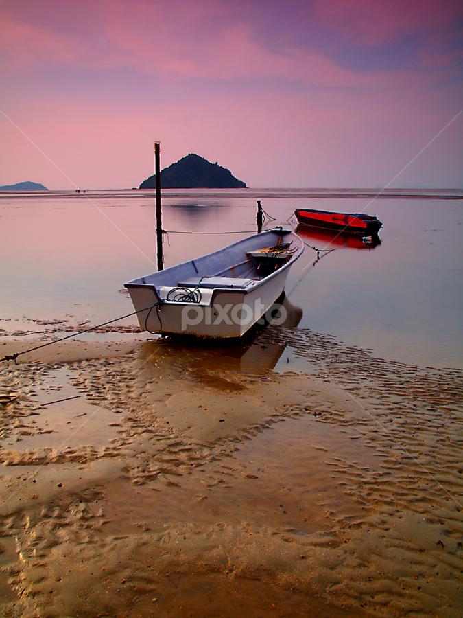 twin by Mohd Shahrizan Taib - Transportation Boats ( water, sand, zuiko lens, e-30, sea, cloud, long exposure, beach, boat )