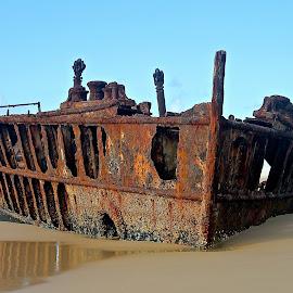 Sunken Ship by Elizabeth M - Transportation Boats ( #australia #sunkenship #ship #boat #water, #fraserisland,  )