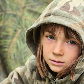 Camo by Sandy Considine - Babies & Children Child Portraits ( girl child, brown hair, camouflage )