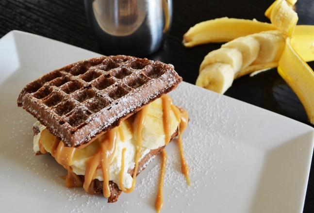 Chocolate Waffle Sandwich with Whipped Cream Bananas and Peanut Butter ...