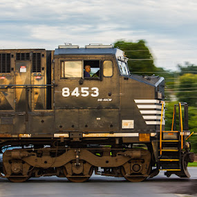 NS 8453 by Greg Booher - Transportation Trains ( crossing, panning, engine, railroad, locomotive, rail, train )