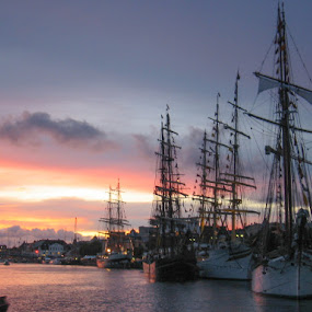 Tall ship race 2005 by Morten Gustavsen - Transportation Boats ( tall ship race, sail ship, ship, sunset, norway )
