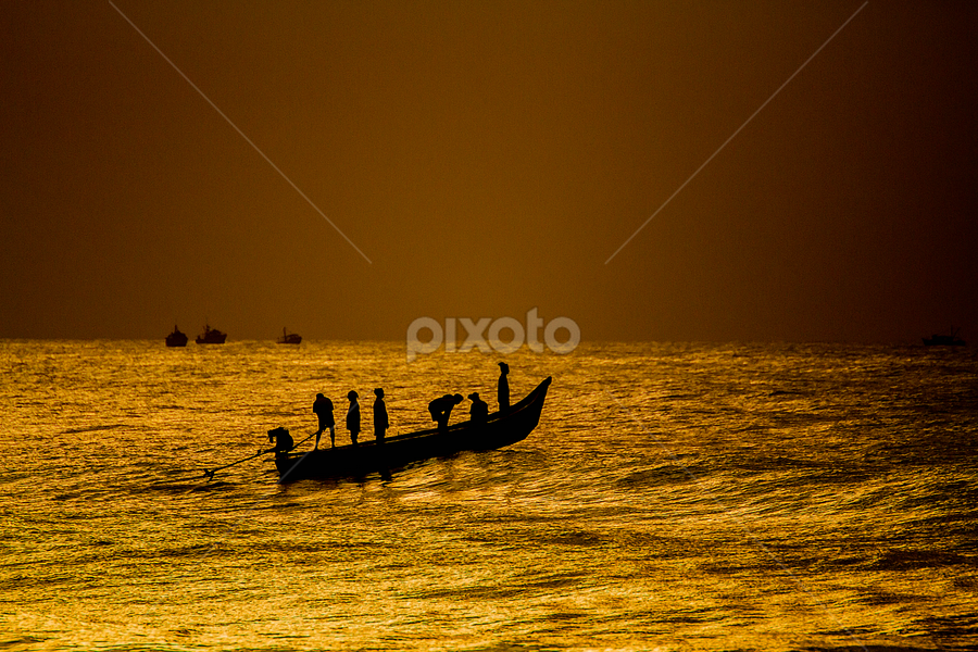 Dream by Vamsi Korabathina - Landscapes Beaches ( fishermen, vision, boats, beach, morning )