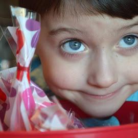 My Little Valentine by Shannon Maltbie-Davis - Babies & Children Children Candids ( treats, hearts, favors, treat bags, red, blue, bucket, valentines day, valentine, boy, eyes )