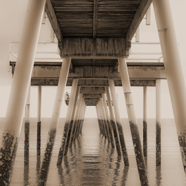 Jetty by Jo Soule - Buildings & Architecture Bridges & Suspended Structures ( sepia, black & white, sea, ocean, view, jetty )