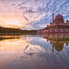 by Silver Hawk - Landscapes Sunsets & Sunrises ( building, mosque, reflections, lake, malaysia, sunrise )