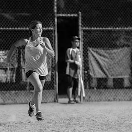 Running on Air by Garry Dosa - Sports & Fitness Baseball ( girl, park, baseball, running )