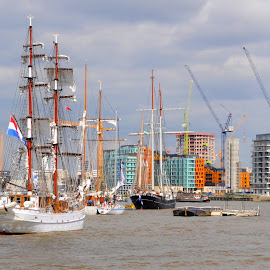 Greenwich Roads by DJ Cockburn - Transportation Boats ( aphrodite, ship, building site, sails, boat, sailboat, construction site, mast, england, flag, london, sailing, ensign, tall ship, holland, rigging, maritime greenwich, dutch, crane, river thames, brig )