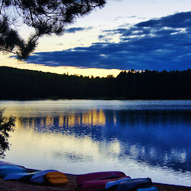 Sunset by Lori Williams - Novices Only Landscapes ( sunset, lake, canoes )